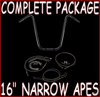 BURLY 16 BLACK HANDLEBARS + CABLES PACKAGE KIT 2004 2006 HARLEY