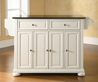 Kitchen Island Buffet Solid Black GraniteTop White Finish Kitchen