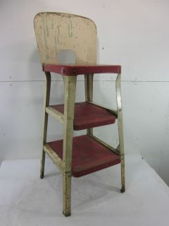 Vintage Red White Metal Kitchen Step Stool