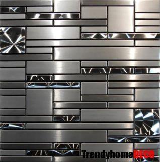 Steel Metal Pattern Mosaic Tile Kitchen Backsplash Wall Sink