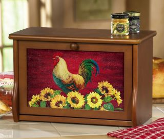 Country Rooster Sunflowers Décor Wooden Kitchen Bread Box