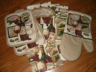 pc Set Kitchen Towels Dish Cloth Pot Holders Mitt Wine Grapes Bottle