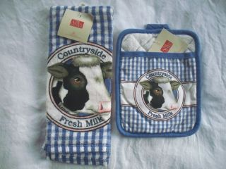 kitchen countryside fresh milk cow hand towel oven mitt pot holder