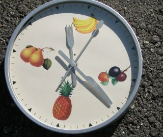 Kitchen Wall CLOCK Battery Round Metal Fruit Pineapple Banana Pear