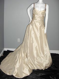 AMSALE KLEINFELD SIZE 10 WEDDING GOWN DRESS CRYSTALS BEAD CANDLELIGHT