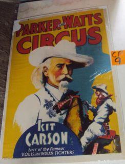 Original Parker and Watts Kit Carson Circus Poster