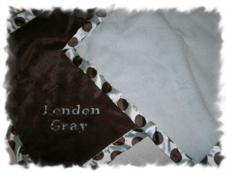 Personalized Blue Brown Posh Dots Silky Blanket