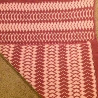 Knitted Baby Blanket Lap Throw Row Of Hearts Wheelchair size rose
