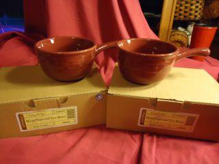 Longaberger Woven Traditions Pottery Paprika chili Bowls set of 2 new