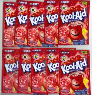 10 packets of KOOL AID drink mix CHERRY flavor, TEN packs UNSWEETENED