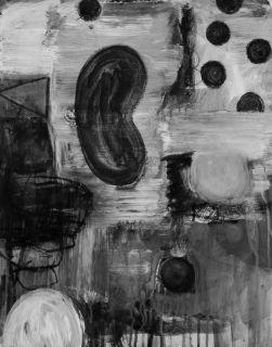 DE KOONING MID CENTURY STYLE BLACK AND WHITE ABSTRACT FINE ART OIL