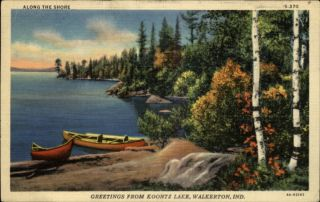 Walkerton in Koontz Lake Boats Canoes Postcard