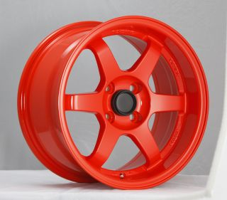 15 KONIG SPOOLED ORANGE RIMS WHEELS 15x8 20 4x100 MAZDA MIATA SCION XB