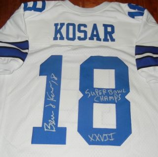 Bernie Kosar Signed Dallas Cowboys Jersey Superbowl Champs XXVII