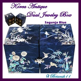 Korea Antique Vintage Jewelry Box Dual Sagunja Blue