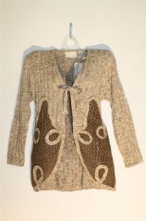 NEW Honeycomb Tan Ivory Knit Tie Wool Blend Sweater Cardigan Top Size