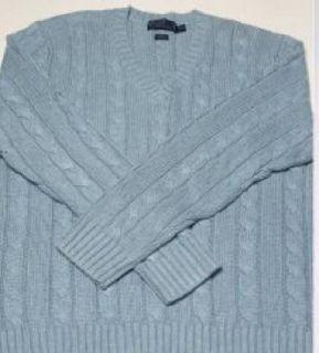 Polo Ralph Lauren 100% Silk Cable Knit V Neck Sweater Mens XL 2XL
