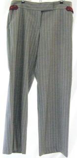 Kuhlman Womens Pants Slacks 100 Wool Gray w Light Blue Pin Stripe Size