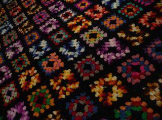 Vtg Handmade Crochet Granny Square Quilt Afghan 38x64