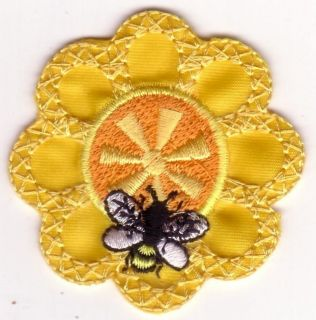 Yellow Flower Honey Bee and Orange Center Embroidery Patch Applique