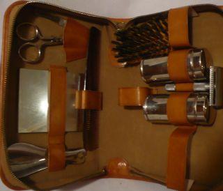 Vintage 1950s Mens Leather Shaving Traveling Kit Razor Comb Shoe Horn