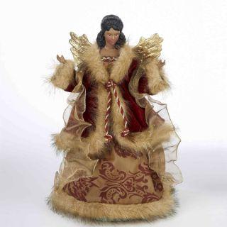 Kurt S. Adler 12 Black Angel Tree Topper Christmas Figure Maroon Gold