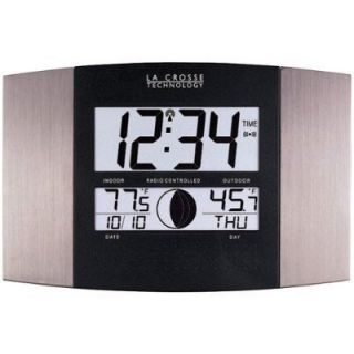 La Crosse Wall Tabletop LCD Atomic Clock Indoor Outdoor Temperature