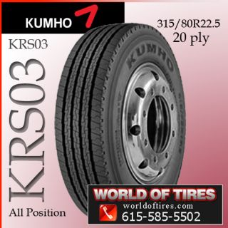 Semi Truck Tires Kumho KRS03 315 80R22 5 22 5 Tires 315 80R22 5 Super