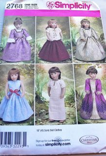 SIMPLICITY 2768 18 AMERICAN GIRL DOLL CLOTHES RENAISSANCE COSTUMES