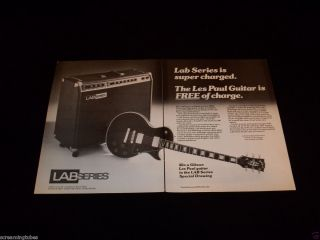 1979 Lab Series Amp Gibson Les Paul Custom Guitar 2 Page Print Ad