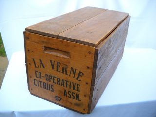 Old Vtg 1957 La Verne California CO OP Wood Wooden Orange Crate Box w