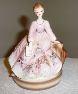 Josef Originals Lady Figurine Music Box 6 Tall Pink with Roses