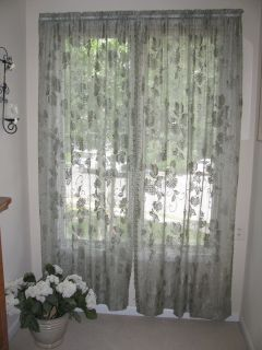 Pair Sage Green Lace Curtain Panels 42 x 84 Each Panel Hydrangea