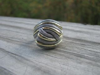 Sterling Silver 18kt Gold Lagos Crossover Ring