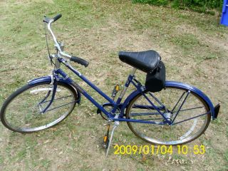 Vintage Raleigh Sports 3 Speed Ladies Cruiser Bicycle Bike Blue