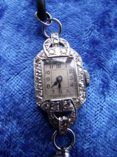 Ladies Antique Platinum Diamond Art Deco Wrist Watch