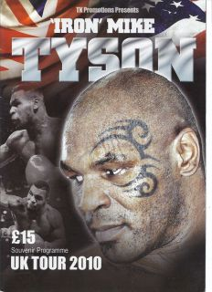 Mike Tyson United Kingdom Dinner Tour on Site Program 2010 Boxing RARE