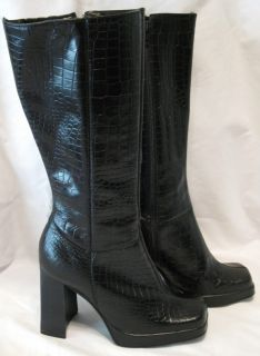 Steve Madden Latoya Black Leather Below Knee Croc Print Boots Size 8 5