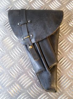 Swedish Army Vintage Black Leather Lahti Gun Pistol Holster
