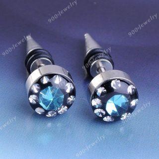2pcs Lake Blue Crystal Mens Stainless Steel Taper Awl Ear Stud