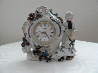FINE CHINA PORCELAINE VICTORIAN LINDEN ALARM CLOCK W/ FIGURINES AROUND