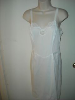 Vtg 60s Wonder Maid Dress Slip Taffeset White Lacey New Sz 34