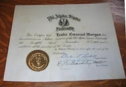 1927 PHI Alpha Sigma Fraternity Initiation Certificate
