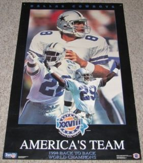 1994 Dallas Cowboys Back to Back Champions American Team Poster