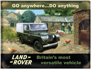 Land Rover Series 1 Vintage Farm Home Pigs Chicks Sign