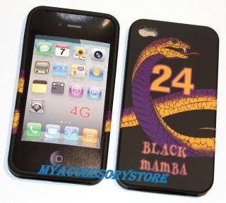 iPhone 4 4S Black Mamba Laker Kobe Bryant No. 24 Silicone Rubber Skin