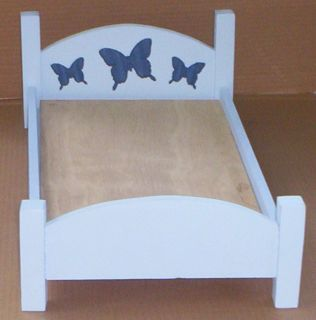 handcrafted bed made for American Girl 18 inch doll size blue