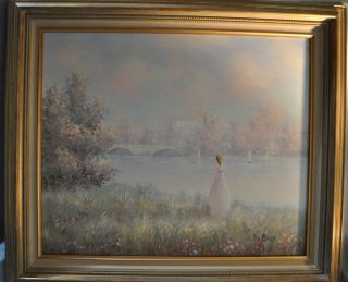 Pastel Oil Painting Lady with Bridge Lake and Sailboats