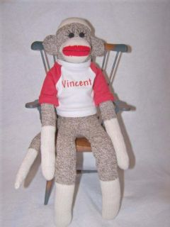 Old Fashion Sock Monkey Toy with Personalized T Shirt