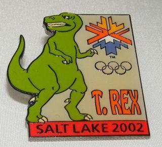 Salt Lake City 2002 Olympics Pin Aminco Kids Dinosaur T Rex
